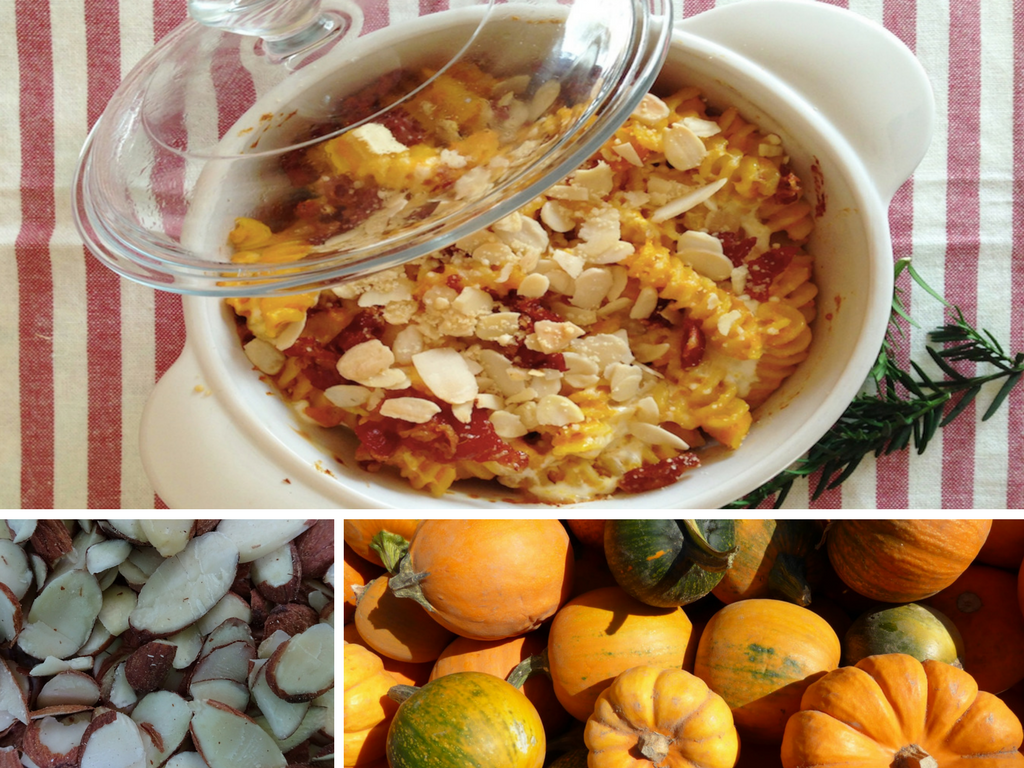 Oven-baked Fusilli with Pumpikin, Bacon and Almonds