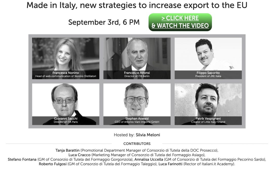 100per100 Italian Talks: European synergies for the development of Made in Italy export
